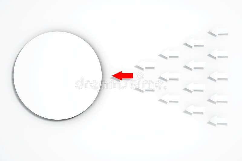 Papierowy Strzałkowaty ruch Pusty okręgu papier świadczenia 3 d royalty ilustracja