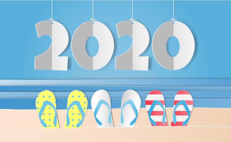 Papierowy styl sztuki z kolorowymi sandałami, morze i 2020 szczęśliwy nowy rok tekst na niebieskim niebie ilustracji