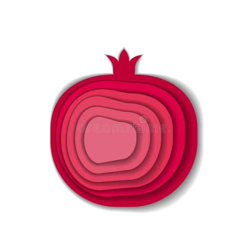 Papierowy sztuka granatowiec ilustracja wektor