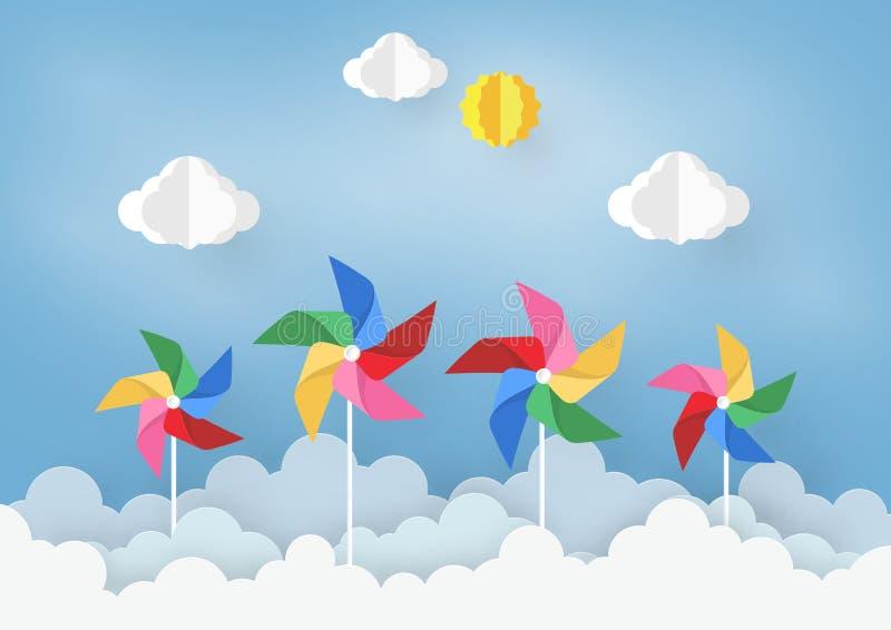 Papierowy sztuka projekt z chmurą i pinwheel na bławym tle pojęcie jest wolności lub pozytywu główkowaniem, wektorowy projekt royalty ilustracja