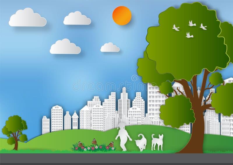 Papierowy sztuka styl krajobraz z dziewczyną i psami w miasto parkach save pomysł światu i ekologii, Abstrakcjonistyczny wektorow ilustracja wektor