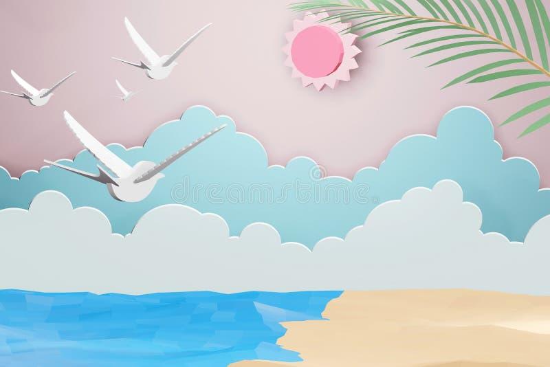 Papierowy sztuka styl morze z plaży i chmury tłem pod światłem słonecznym, 3D renderingu projekt royalty ilustracja