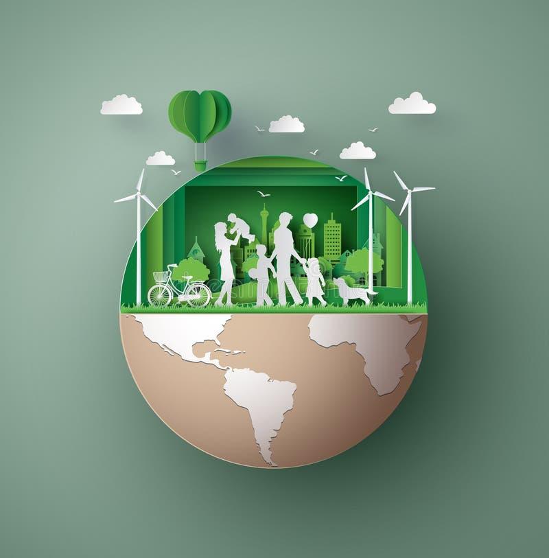 Papierowy sztuki pojęcie życzliwy eco, save ziemię ilustracji