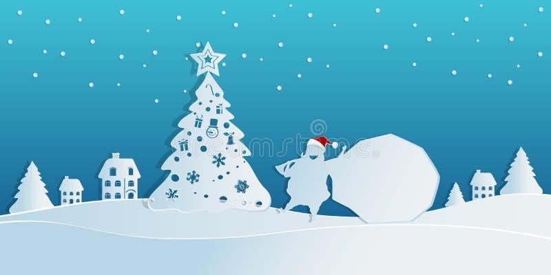 Papierowy sztuki pojęcie boże narodzenia z Święty Mikołaj niesie torbę prezenty w śnieżnej scenie wioska Wesoło boże narodzenia i royalty ilustracja