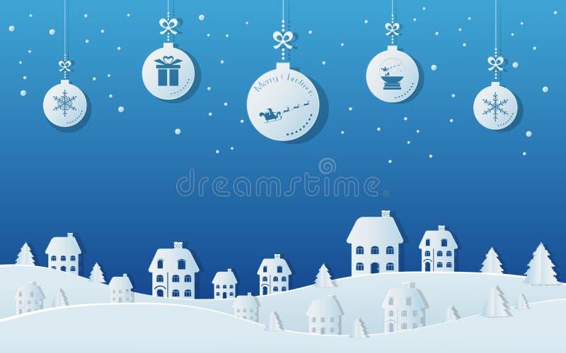Papierowy sztuki pojęcie boże narodzenie piłki wiesza z faborkiem w śnieżnej wioski scenie Wesoło boże narodzenia i Szczęśliwy no royalty ilustracja