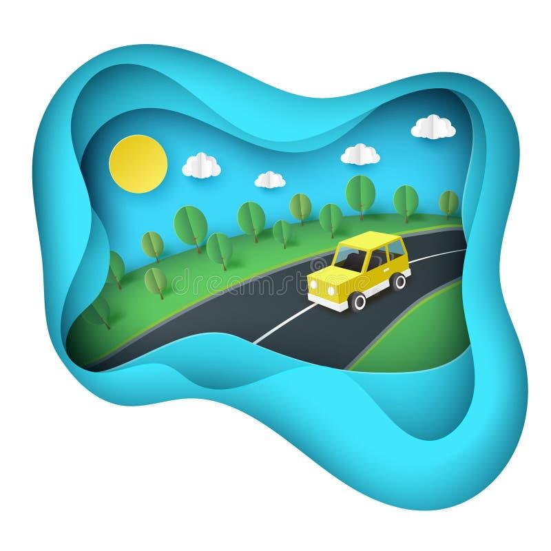 Papierowy sztuki tło, żółty samochód na drogowym pobliskim zielonym gazonie ilustracja wektor