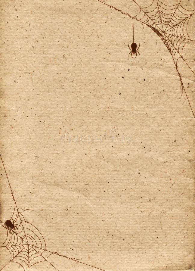 Papierowy tło stylizujący dla Halloween Rama z pająk sieciami royalty ilustracja
