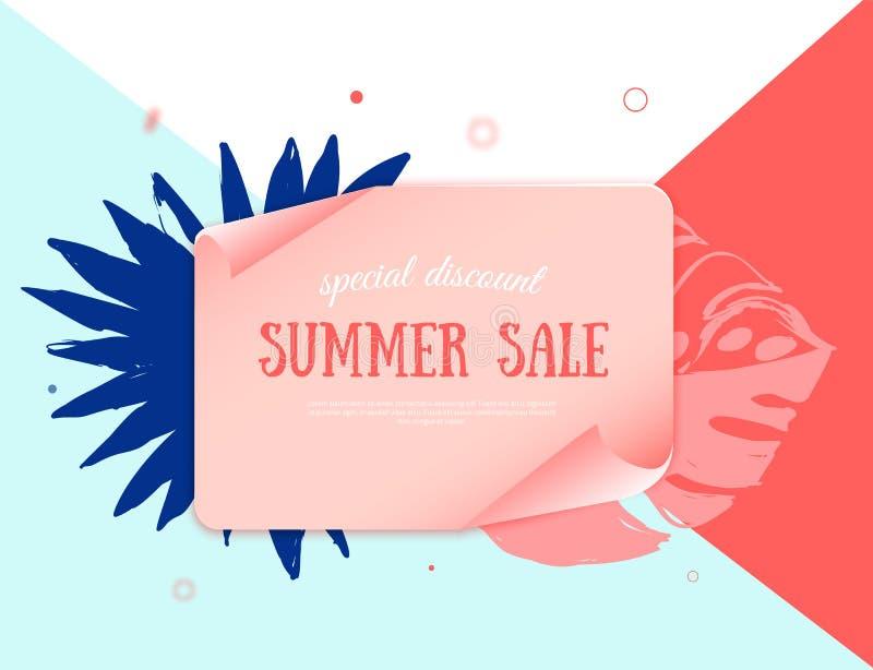 Papierowy tropikalny sztandar z Gorącym lato sprzedaży projekta elementem Wektorowy ilustracyjny szablon Specjalna promocyjna ety royalty ilustracja
