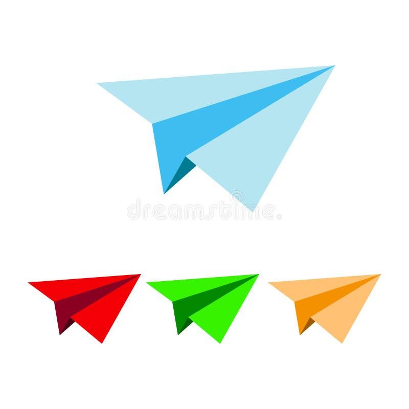 Papierowy zabawka samolot odizolowywający na białym tle Kreskówka zabawkarski płaski wektor Zabawkarskiego płaskiego origami papi ilustracja wektor