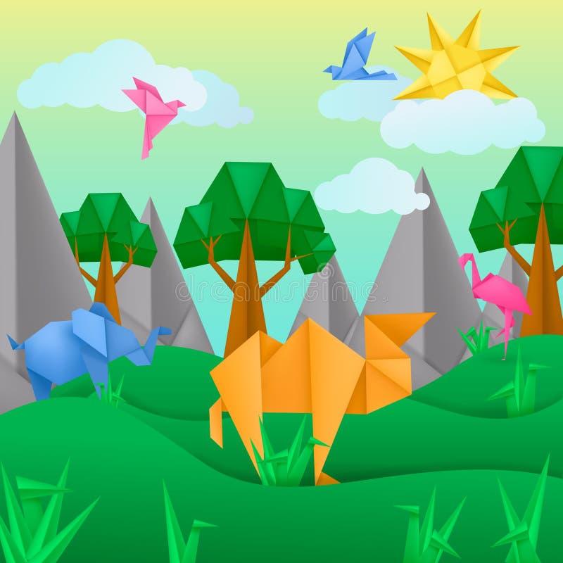 Papierowych origami zwierząt zastosowania papieru krajobrazowy tło royalty ilustracja