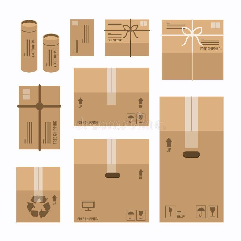 Papierowych pudełek produktu pakunku mockup ustawiający projekt ilustracji