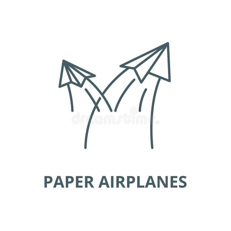 Papierowych samolot?w wektoru linii ikona, liniowy poj?cie, konturu znak, symbol ilustracja wektor