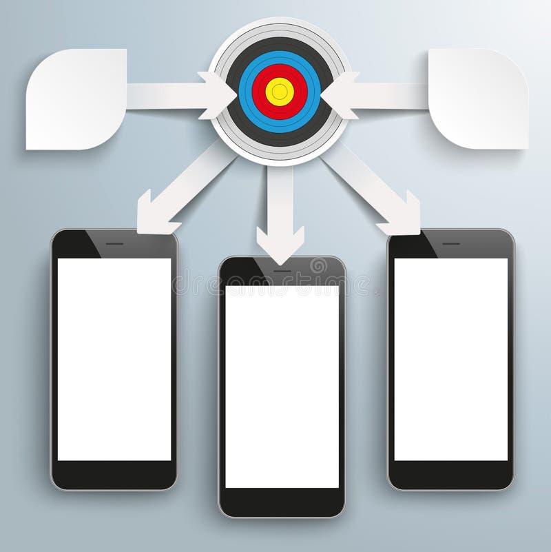 Papierowych strzała Flowchart Infographic celu 3 Duzi Smartphones ilustracja wektor