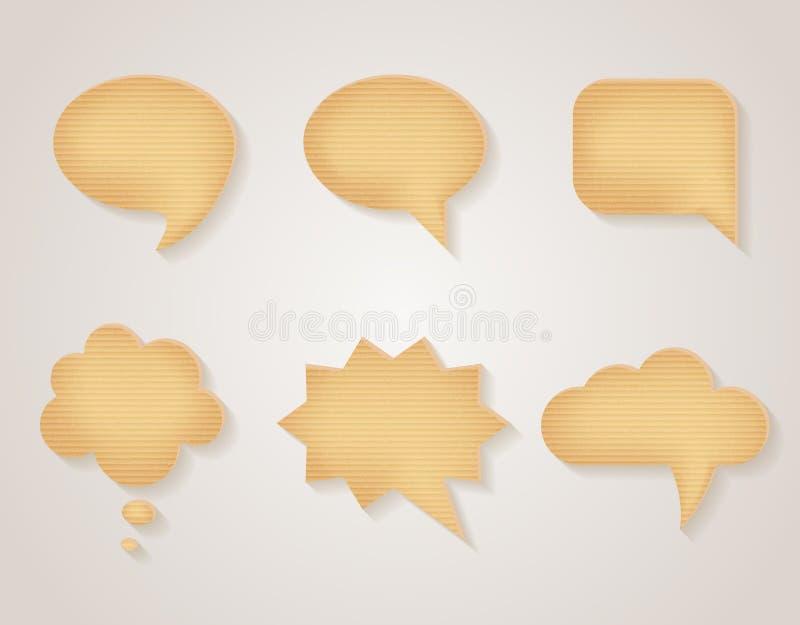 Papierpappvektorspracheblasen eingestellt lizenzfreie abbildung
