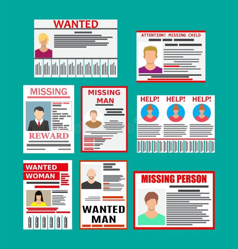 Papierplakat der gesuchten Person Die Verfehlung kündigen an stock abbildung