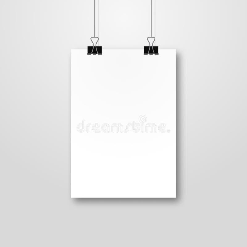 Papierplakat pockup Design Papierschablone des blattfreien raumes Feld auf Wandportfoliokonzept Vektorgalerie stock abbildung