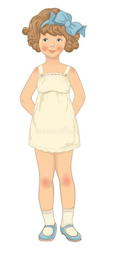 Papierpuppe, Mädchenkarosserienschablone stock abbildung