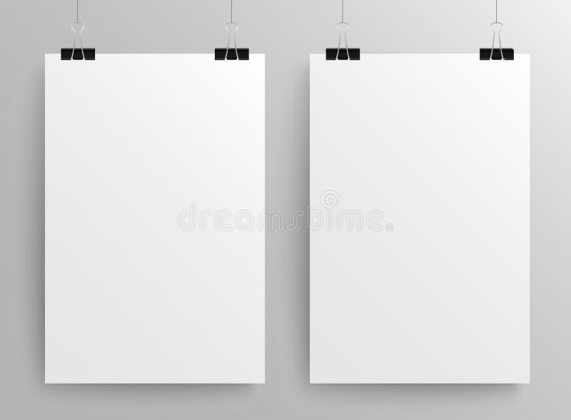 Papierrechteck-Fahnen-Vektor Spott oben A4 lizenzfreie abbildung