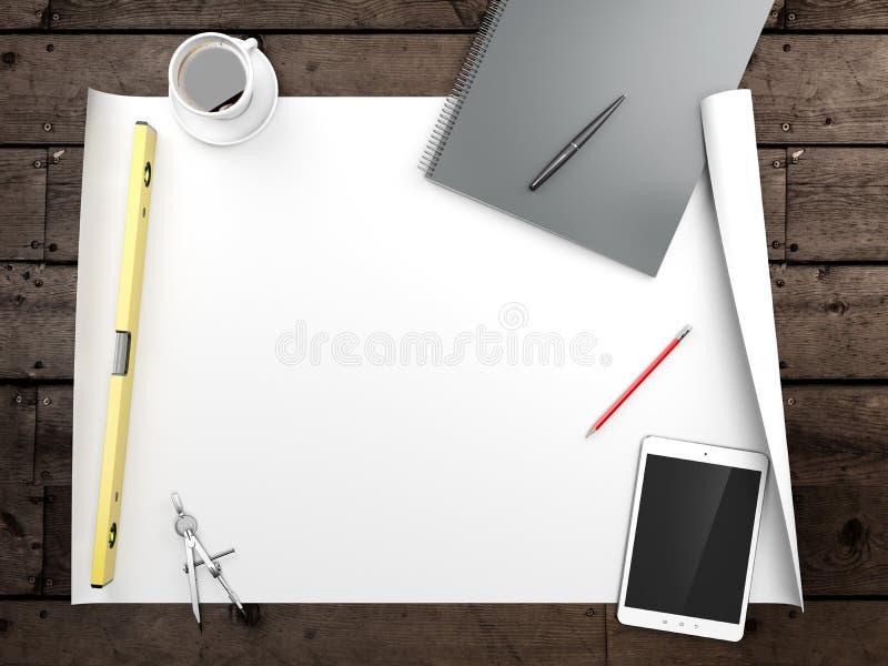Papiers avec des croquis sur la table illustration de vecteur