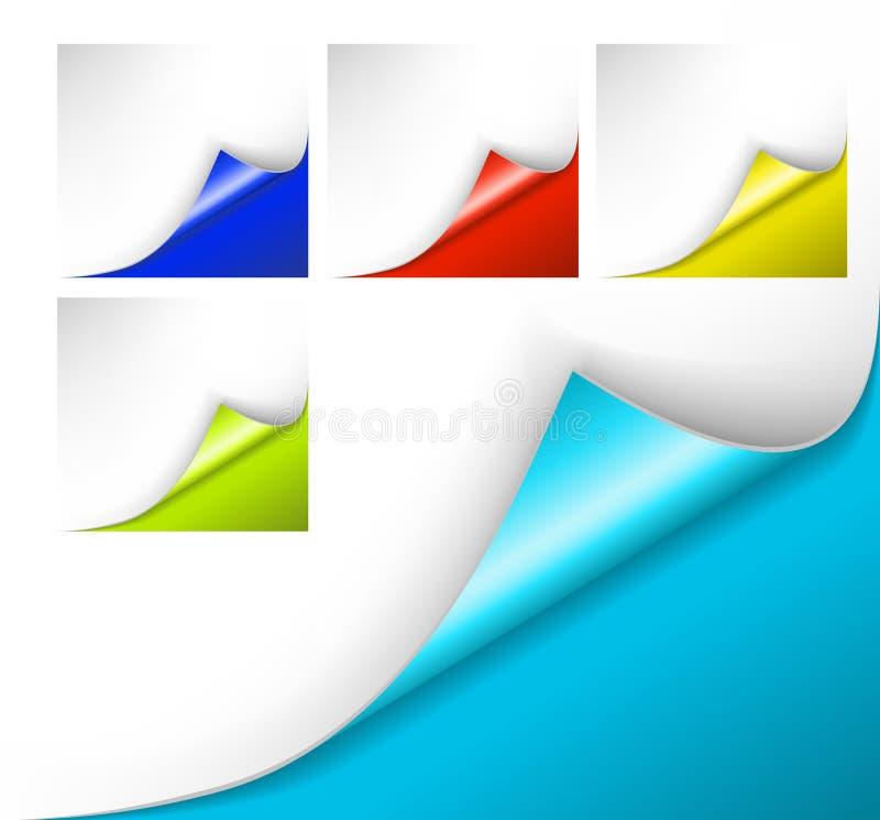 Papiers colorés avec un enroulement illustration libre de droits