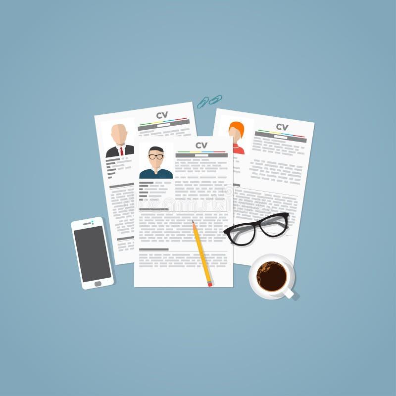 Papiers de curriculum vitae illustration de vecteur