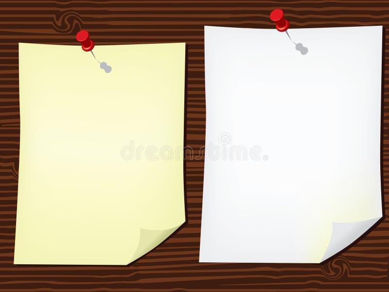 Papiers de note sur le panneau en bois illustration stock