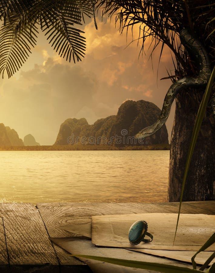 Papiers et anneau antiques de cru sur le coucher du soleil tropical de retour image libre de droits