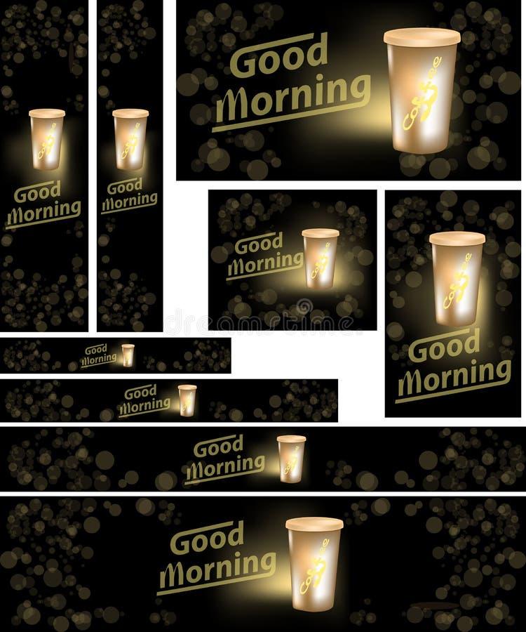 Papiers peints de café pour le Web et les applications mobiles illustration de vecteur