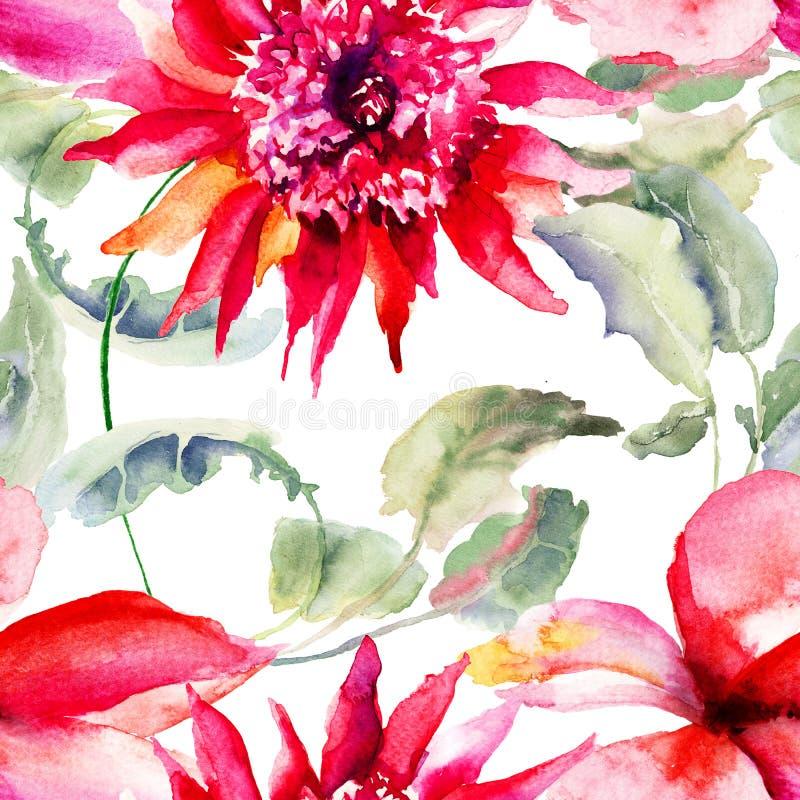 Papiers peints sans couture avec la belle fleur rose illustration stock