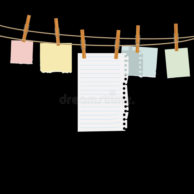Papiers sur la corde illustration de vecteur