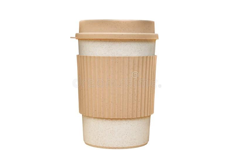 Papierschale Mitnehmerkaffee mit dem Beschneidungspfad lokalisiert auf weißem Hintergrund lizenzfreie stockfotos