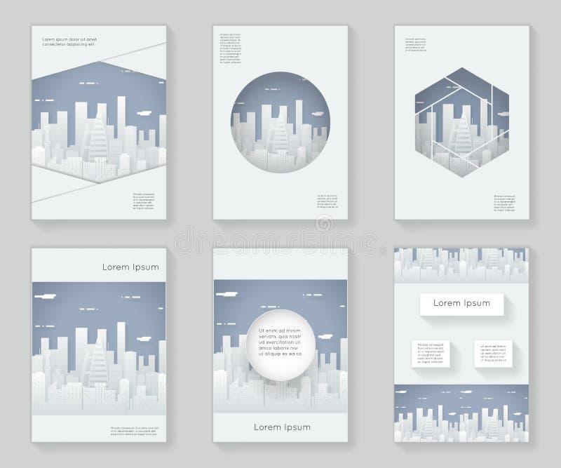 Papierschattenbild-Stadtlandschafts-Stadt Real Estate 3d über dekorativem Musterrahmen des Designschablonenzusammenfassungsdesign lizenzfreie abbildung