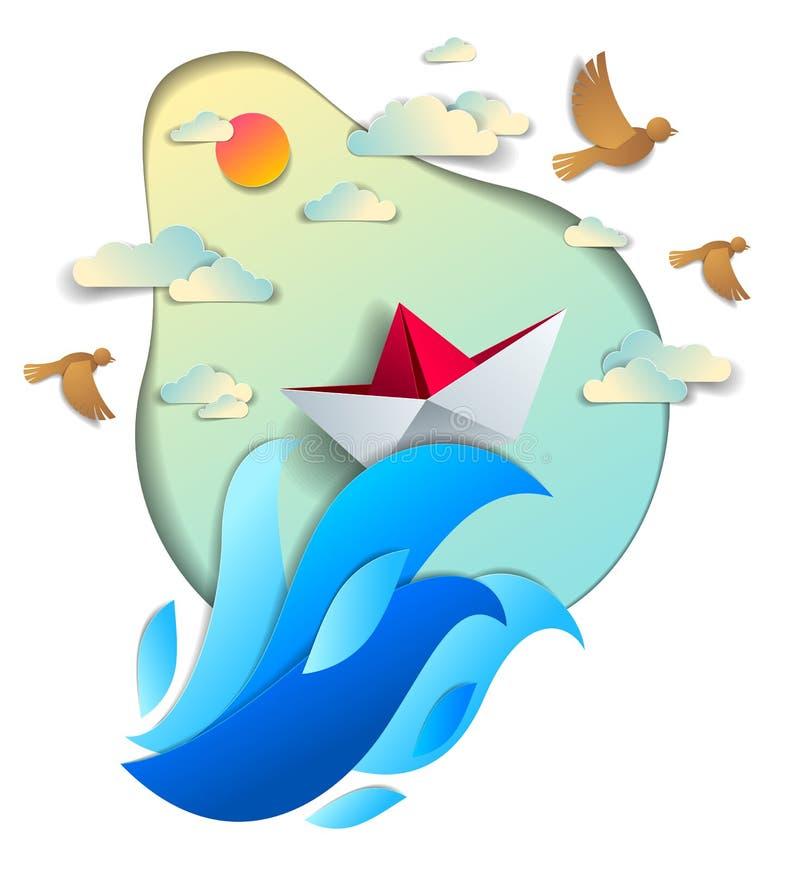 Papierschiffsschwimmen in den Meereswellen, Origami faltete Spielzeugboot floati vektor abbildung