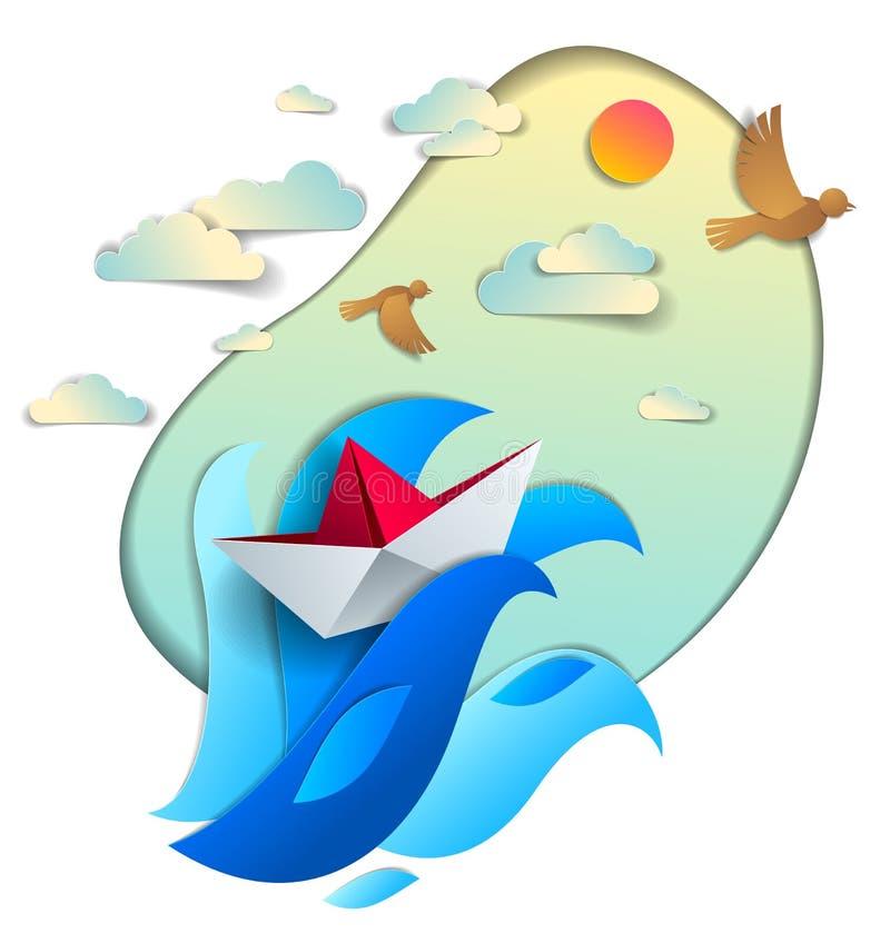 Papierschiffsschwimmen in den Meereswellen, Origami faltete Spielzeugboot floati lizenzfreie abbildung