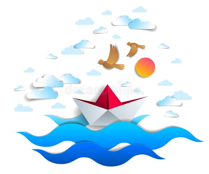 Papierschiffsschwimmen in den Meereswellen, in Origami gefaltetem Spielzeugboot, die in den Ozean mit schönem szenischem Meerblic lizenzfreie abbildung