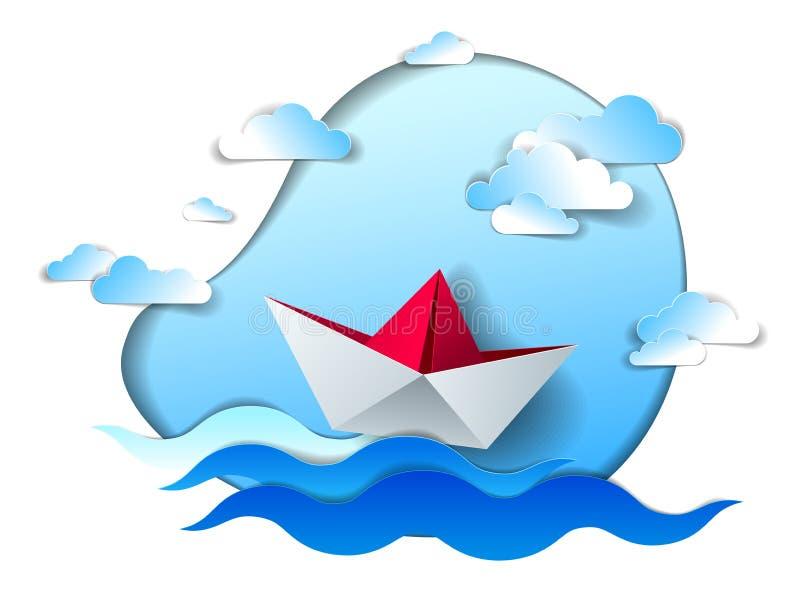 Papierschiffsschwimmen in den Meereswellen, Origami gefaltetes Spielzeugboot, das in den Ozean mit sch?nem szenischem Meerblick m lizenzfreie abbildung