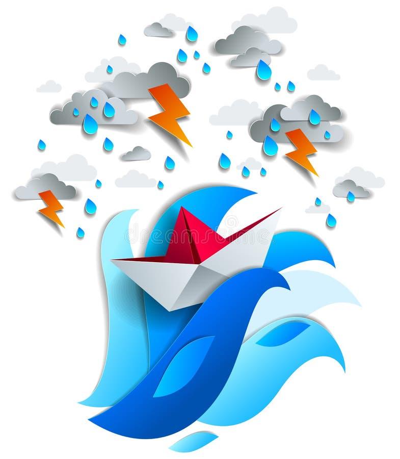 Papierschiffsschwimmen im Sturm mit Blitz, Origami faltete Spielzeug stock abbildung