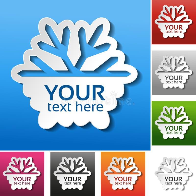 Papierschneeflocke auf dem roten, blauen, grünen, rosa, schwarzen, grauen, orange und weißen Hintergrund Winterschlussverkaufaufk lizenzfreie abbildung