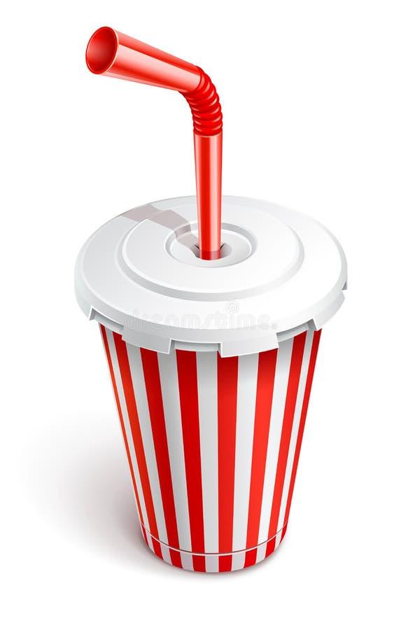Papierschnellimbißcup mit rotem Gefäß lizenzfreie abbildung