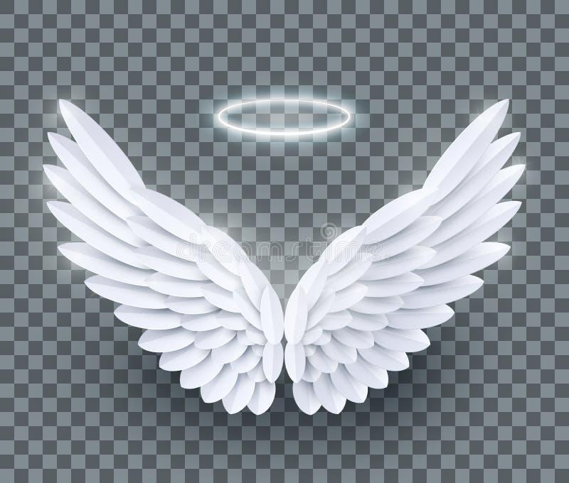 Papierschnitt-Engelsflügel des Vektors 3d weiße realistische überlagerte lizenzfreie abbildung