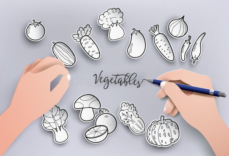 Papierschnitt und Freihandzeichnenzeichnungsgemüse auf grauem Hintergrund stock abbildung