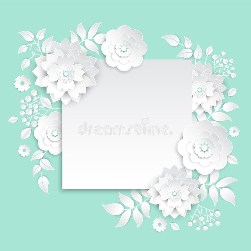 Papierschnittblumen - bunte Illustration des modernen Vektors vektor abbildung