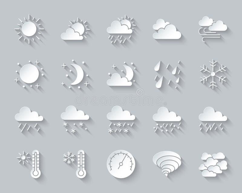 Papierschnittikonen-Vektorsatz des Wetters einfacher lizenzfreie abbildung