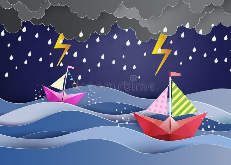 Papiersegelboot lizenzfreie abbildung