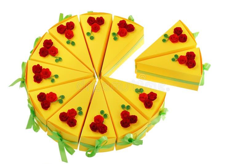 Papierstücke des Kuchens gemacht mit Rüschentechnik vektor abbildung
