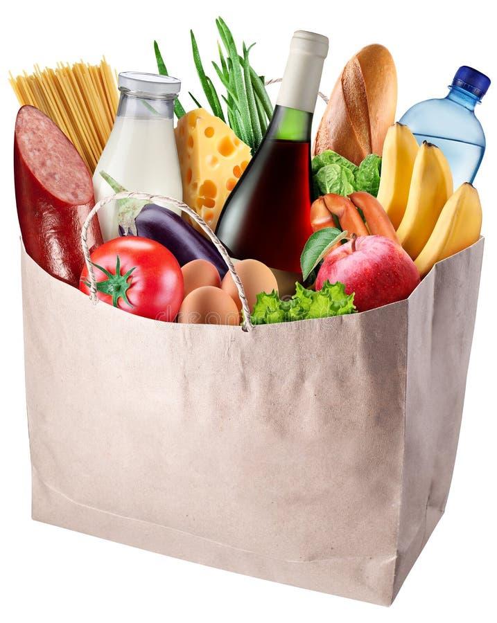 Papiertüte mit dem Lebensmittel lokalisiert auf einem weißen Hintergrund stockbilder