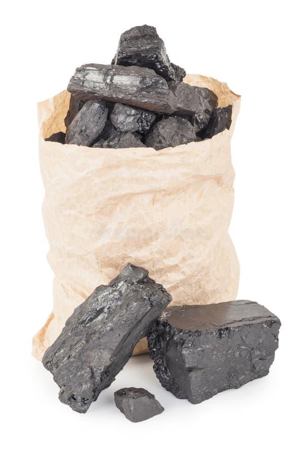 Papiertüte mit Kohle lizenzfreie stockbilder