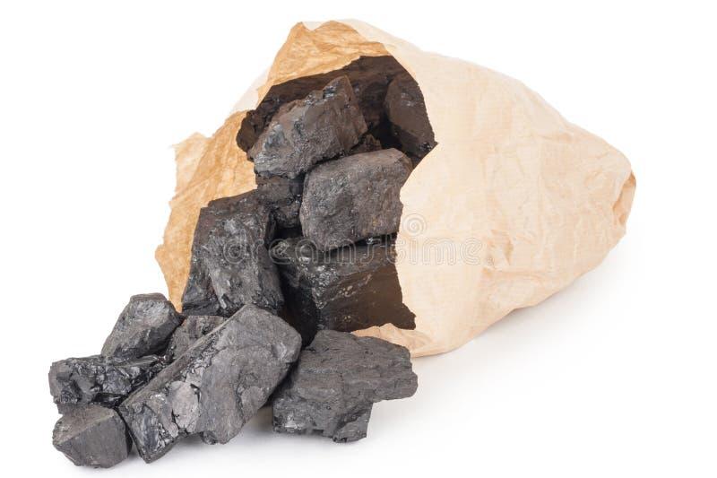 Papiertüte mit Kohle stockfotografie