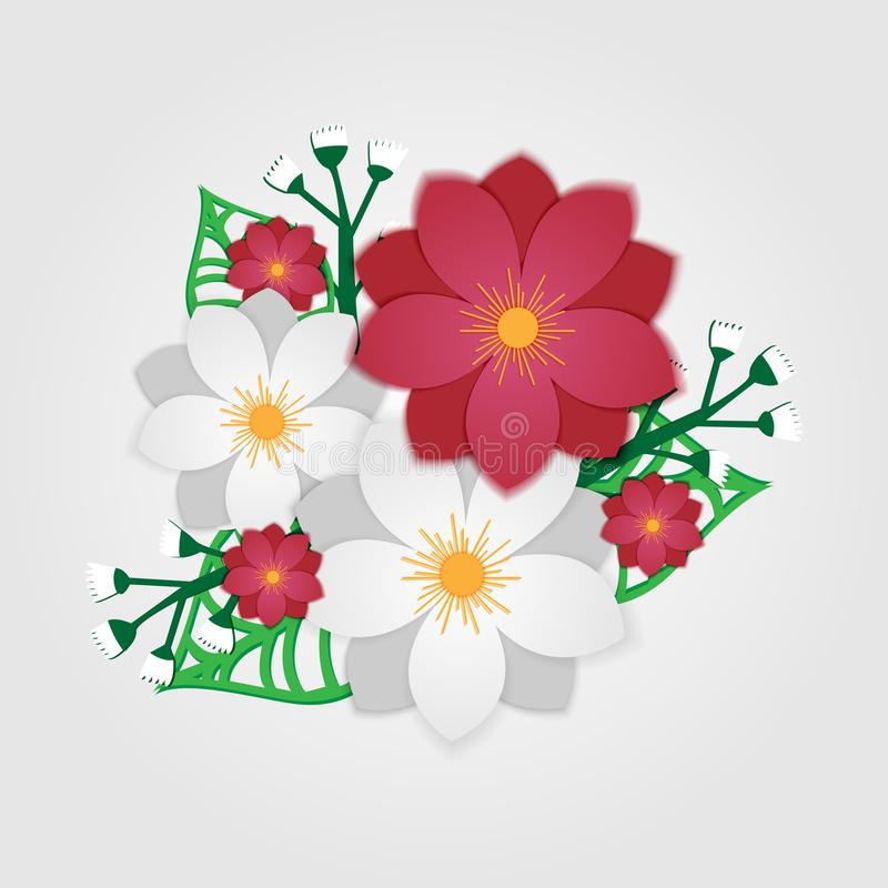 Papieru cięcia kwiaty Wektoru zapas royalty ilustracja