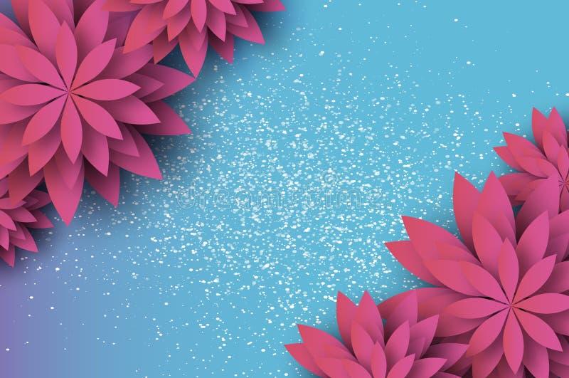 Papieru cięcia menchii Kwiecisty kartka z pozdrowieniami Origami kwiat Przestrzeń dla teksta kwiaty azalii blisko dof płytkie poj ilustracji